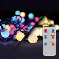 Solight LED 2v1 venkovní vánoční řetěz, koule, dálkový ovladač, 100LED, RGB+bílá, 10m+5m, 8 funkcí, IP44