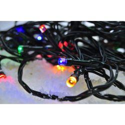 Solight LED venkovní vánoční řetěz, 50 LED, 5m, přívod 3m, 8 funkcí, časovač, IP44, vícebarevný