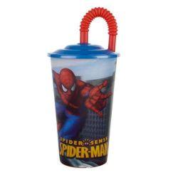 Pohárek 600ml s víčkem a brčkem, Spiderman