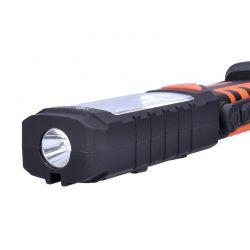 Solight multifunkční nabíjecí LED lampa, 3W COB, 250 + 40lm, Li-Ion, USB, černooranžová