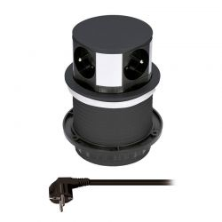 Solight prodlužovací přívod, 4 zásuvky, černý, 1,5m, výsuvný blok zásuvek, kruhový tvar