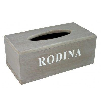 Dřevěná krabička na kapesníčky tissue RODINA Goba
