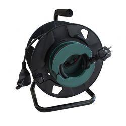 Solight prodlužovací přívod - na bubnu, venkovní, 1 zásuvka, černý, gumový kabel, 50m
