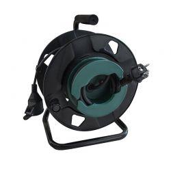 Solight prodlužovací přívod - na bubnu, venkovní, 1 zásuvka, černý, gumový kabel, 25m