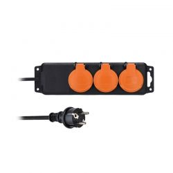 Solight prodlužovací přívod IP44, 3 zásuvky, gumový kabel, venkovní, 10m