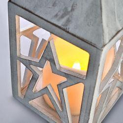 Solight dřevěná lucerna s LED svíčkou, 3x AAA