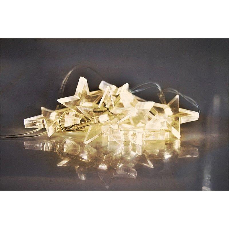 Solight LED vánoční řetěz, hvězdy, 1,5m, 10 LED, 2 x AA, žluté světlo 1V52-WW