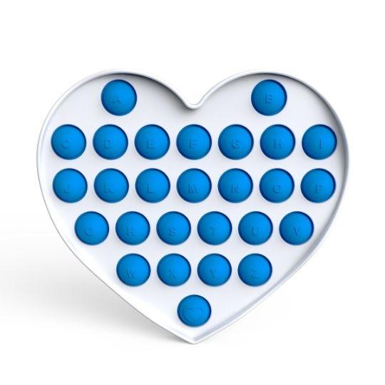 Pop it - Fidgetová antistresová hra - modré srdce abeceda GMEX GASTROMEX