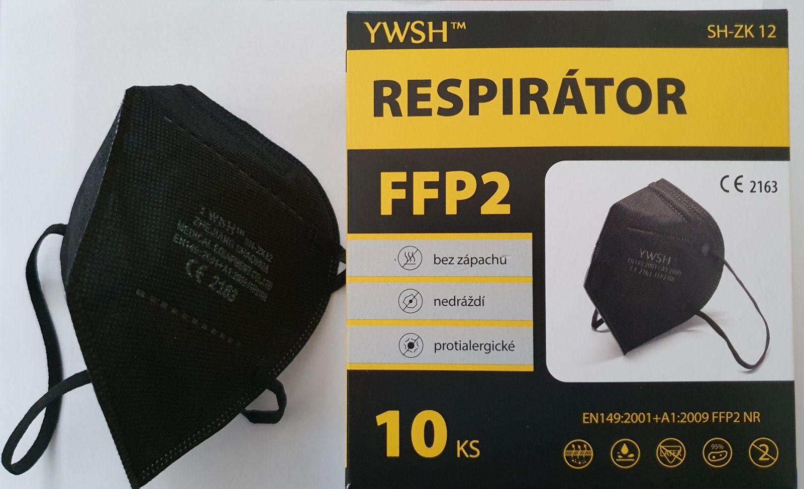 YWSH Respirátor FFP2 10 ks - Černý