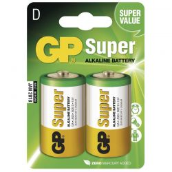 Alkalická baterie GP Super LR20 D 2 ks, samostatně