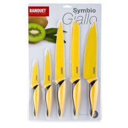 5 dílná sada nožů s nepřilnavým povrchem, SYMBIO Giallo Žluté BANQUET