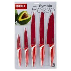 5 dílná sada nožů s nepřilnavým povrchem, SYMBIO Rosso červená Banquet