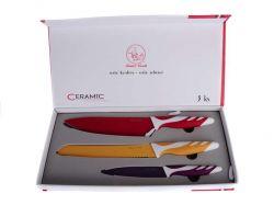 Ocelové nože s keramickým povrchem 3 ks Smart Cook