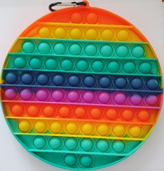 Pop it MEGA GMEX - duha rainbow kruh velký včetně karabinky