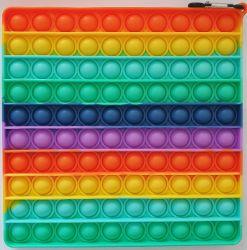 Pop it MEGA GMEX - duha rainbow čtverec velký včetně karabinky