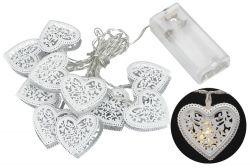 Světelný LED řetěz 10 diod, kovové srdce, 1,6 m, teplá bílá