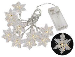 Světelný LED řetěz 10 diod, kovové vločky, 1,6 m, teplá bílá