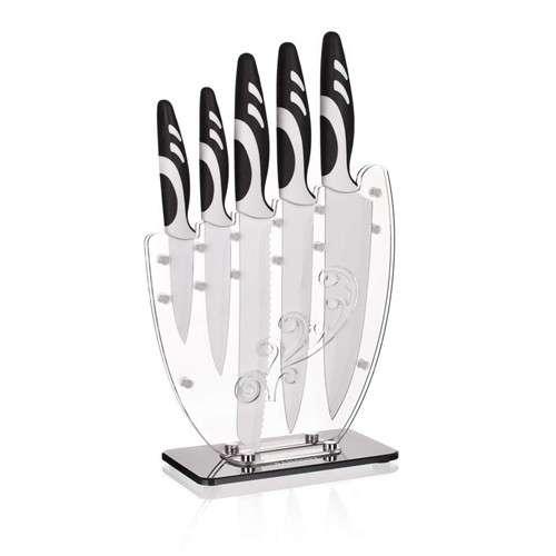 Banquet 5 dílná sada nožů se stojánkem s nepřilnavým povrchem, Variato Bianca