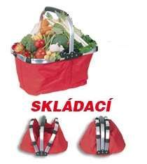 Nákupní košík skládací jedno madlo 46 x 28 x 23 cm červený velikost XL
