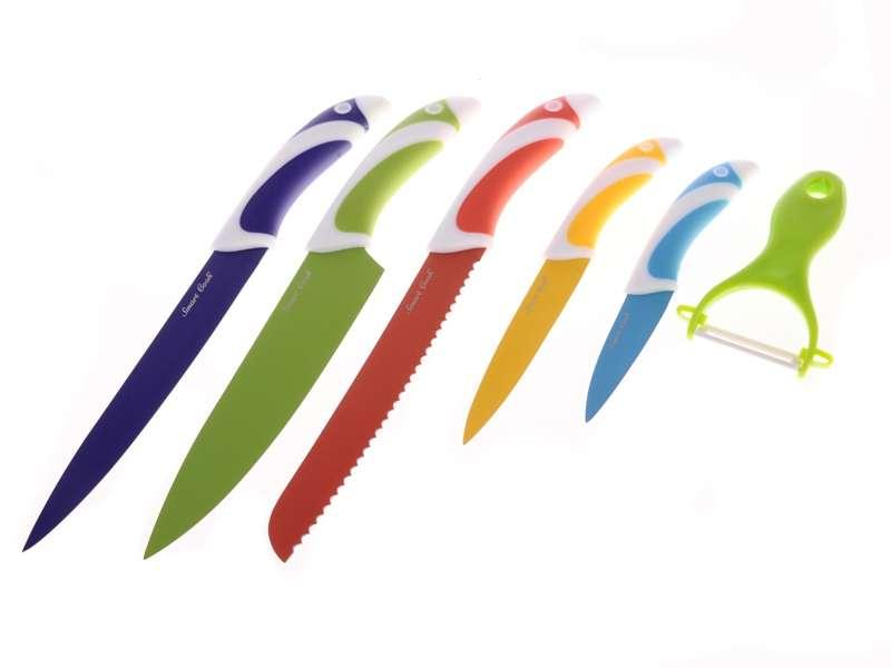 Smart Cook Ocelové nože s keramickým povrchem 5 ks + škrabka