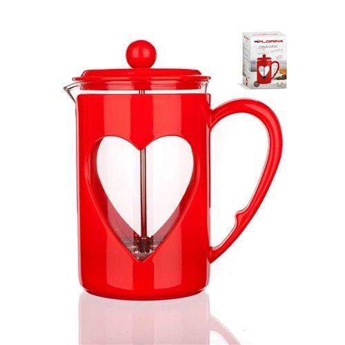 Konvice na kávu srdíčko Florina 800ml červená pro tzv. French press - Kafeterie
