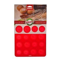 Silikonová forma bábovičky 24ks 32x22x1,5cm Culinaria red Banquet