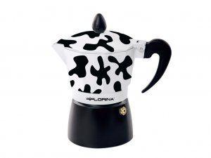 Florina Kafetier hliníkový espresso maker Kávovar černý design 6 šálků alu